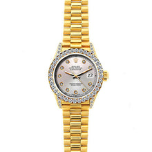 Load image into Gallery viewer, Rolex Datejust 26mm 18k Yellow Gold President Bracelet Echo Blue w/ Diamond Bezel and Lugs