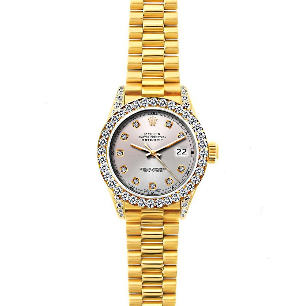 Rolex Datejust 26mm 18k Yellow Gold President Bracelet Echo Blue w/ Diamond Bezel and Lugs