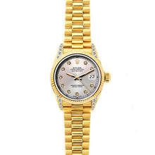 Load image into Gallery viewer, Rolex Datejust 26mm 18k Yellow Gold President Bracelet Echo Blue Dial w/ Diamond Lugs