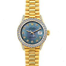 Load image into Gallery viewer, Rolex Datejust 26mm 18k Yellow Gold President Bracelet Pearl Blue Dial w/ Diamond Bezel and Lugs