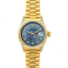 Load image into Gallery viewer, Rolex Datejust 26mm 18k Yellow Gold President Bracelet Blue Mother of Pearl Dial w/ Diamond Lugs