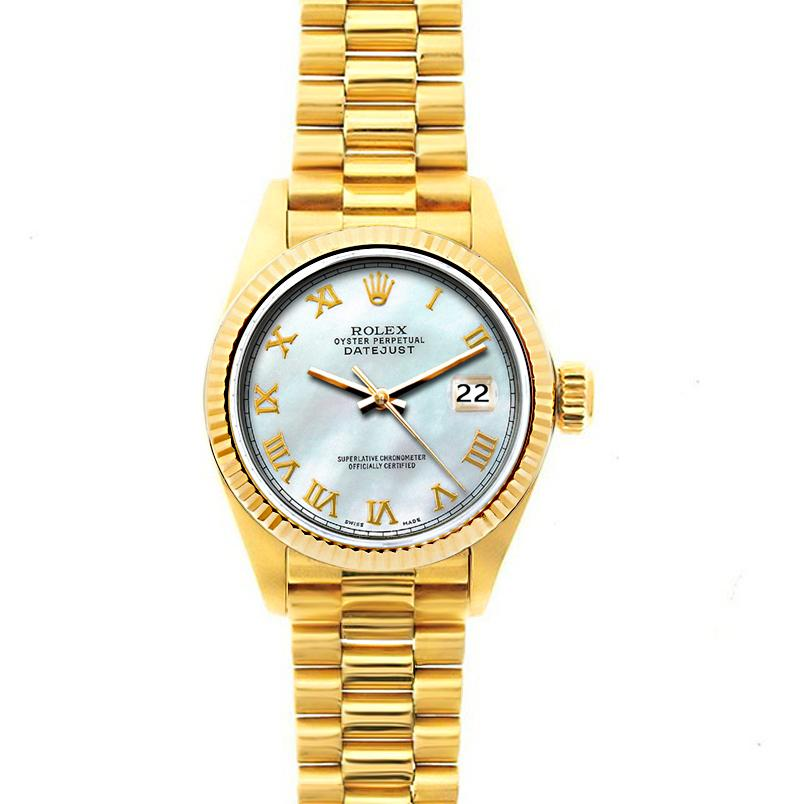 Rolex Datejust 26mm 18k Yellow Gold President Bracelet White Mother of Pearl Dial