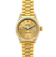 Load image into Gallery viewer, Rolex Datejust 26mm 18k Yellow Gold President Bracelet Yellow Gold Dial w/ Diamond Lugs