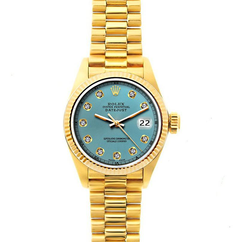 Rolex Datejust 26mm 18k Yellow Gold President Bracelet Ice Blue Dial