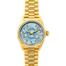 Load image into Gallery viewer, Rolex Datejust 26mm 18k Yellow Gold President Bracelet Ice Blue Flower Dial