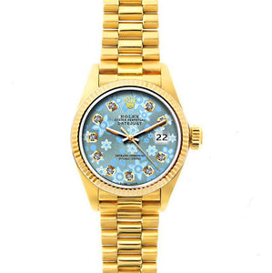 Rolex Datejust 26mm 18k Yellow Gold President Bracelet Ice Blue Flower Dial