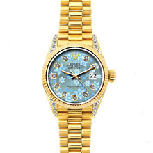 Load image into Gallery viewer, Rolex Datejust 26mm 18k Yellow Gold President Bracelet Ice Blue Flower Dial w/ Diamond Lugs