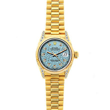 Load image into Gallery viewer, Rolex Datejust 26mm 18k Yellow Gold President Bracelet Ice Blue Rolex Dial w/ Diamond Lugs