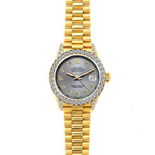 Load image into Gallery viewer, Rolex Datejust 26mm 18k Yellow Gold President Bracelet Gray Dial w/ Diamond Bezel and Lugs