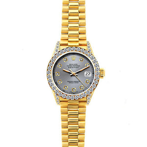 Rolex Datejust 26mm 18k Yellow Gold President Bracelet Gray Dial w/ Diamond Bezel and Lugs