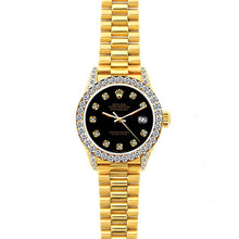 Load image into Gallery viewer, Rolex Datejust 26mm 18k Yellow Gold President Bracelet Black Dial w/ Diamond Bezel and Lugs