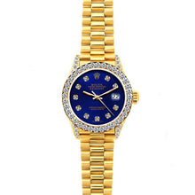 Load image into Gallery viewer, Rolex Datejust 26mm 18k Yellow Gold President Bracelet Ultramarine w/ Diamond Bezel and Lugs