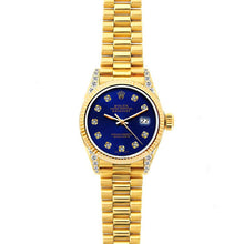 Load image into Gallery viewer, Rolex Datejust 26mm 18k Yellow Gold President Bracelet Ultramarine Dial w/ Diamond Lugs