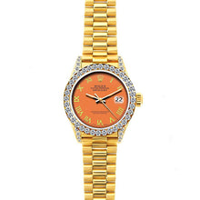 Load image into Gallery viewer, Rolex Datejust 26mm 18k Yellow Gold President Bracelet Orange Dial w/ Diamond Bezel and Lugs