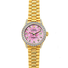 Load image into Gallery viewer, Rolex Datejust 26mm 18k Yellow Gold President Bracelet Pink Flower Dial w/ Diamond Bezel and Lugs