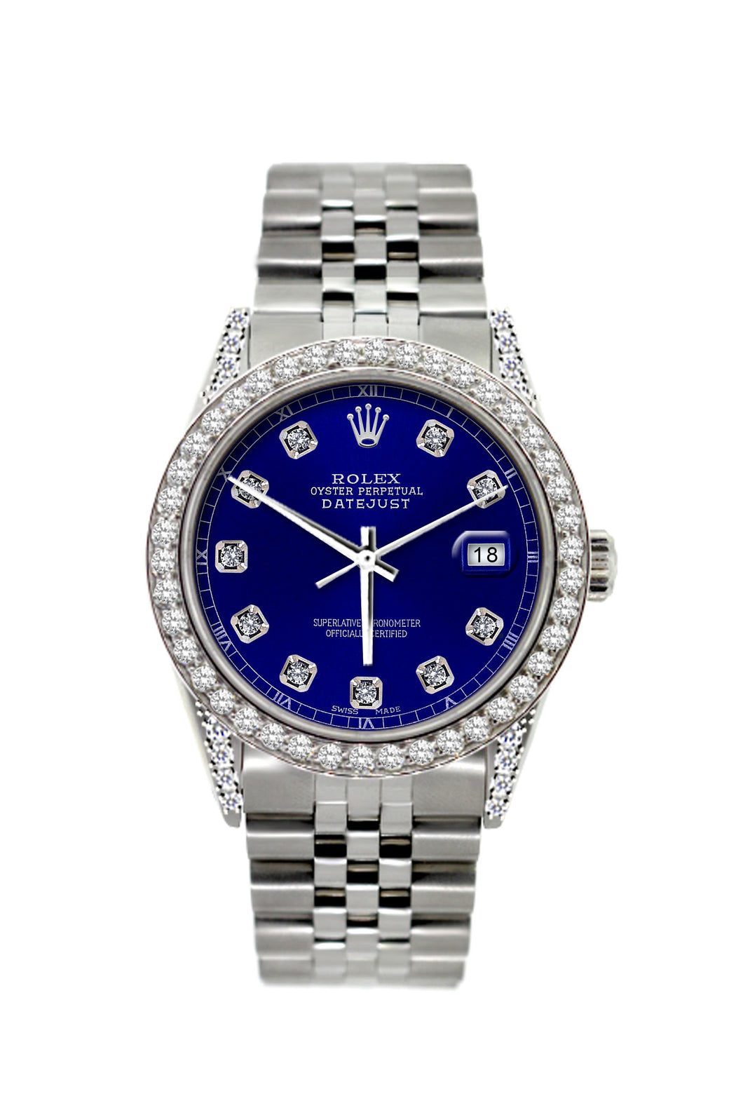 Rolex Datejust 36mm Stainless Steel Dark Blue Dial w/ Diamond Bezel and Lugs