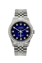 Load image into Gallery viewer, Rolex Datejust 36mm Stainless Steel Black and Blue Dial w/ Diamond Bezel