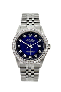 Rolex Datejust 36mm Stainless Steel Black and Blue Dial w/ Diamond Bezel
