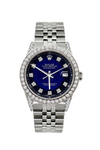 Load image into Gallery viewer, Rolex Datejust 36mm Stainless Steel Blue and Black Dial w/ Diamond Bezel and Lugs