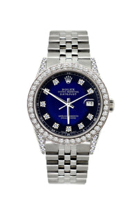Rolex Datejust 36mm Stainless Steel Blue and Black Dial w/ Diamond Bezel and Lugs