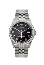 Load image into Gallery viewer, Rolex Datejust 36mm Stainless Steel Black Rolex Dial w/ Diamond Bezel