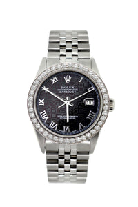 Rolex Datejust 36mm Stainless Steel Black Rolex Dial w/ Diamond Bezel