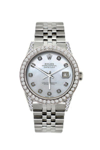 Rolex Datejust 36mm Stainless Steel Pearl Blue Dial w/ Diamond Bezel and Lugs