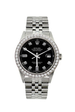 Load image into Gallery viewer, Rolex Datejust 36mm Stainless Steel Black Dial w/ Diamond Bezel