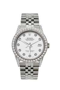 Rolex Datejust 36mm Stainless Steel White Dial w/ Diamond Bezel and Lugs
