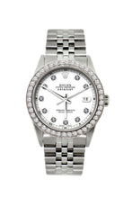Load image into Gallery viewer, Rolex Datejust 36mm Stainless Steel White Dial w/ Diamond Bezel
