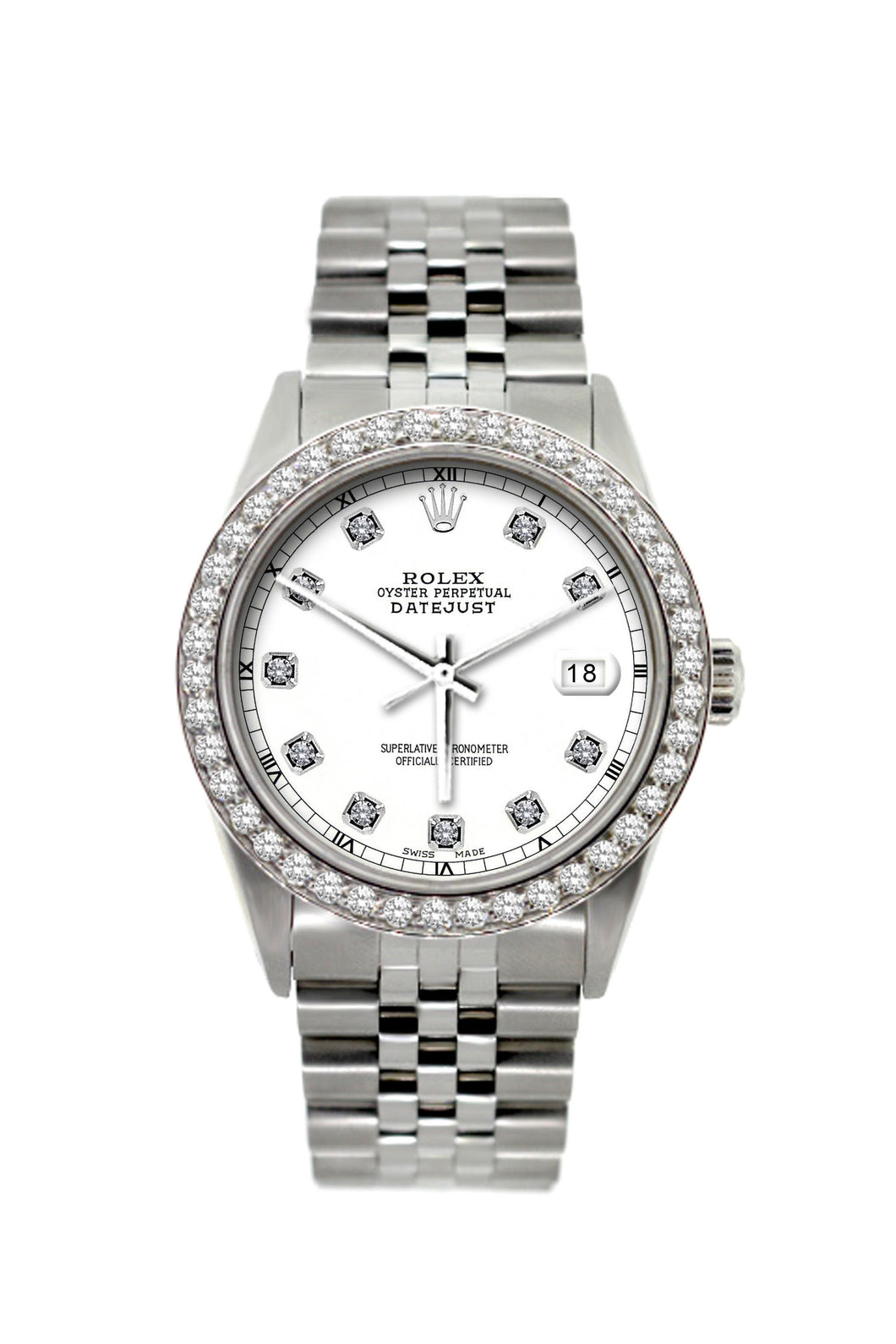 Rolex Datejust 36mm Stainless Steel White Dial w/ Diamond Bezel