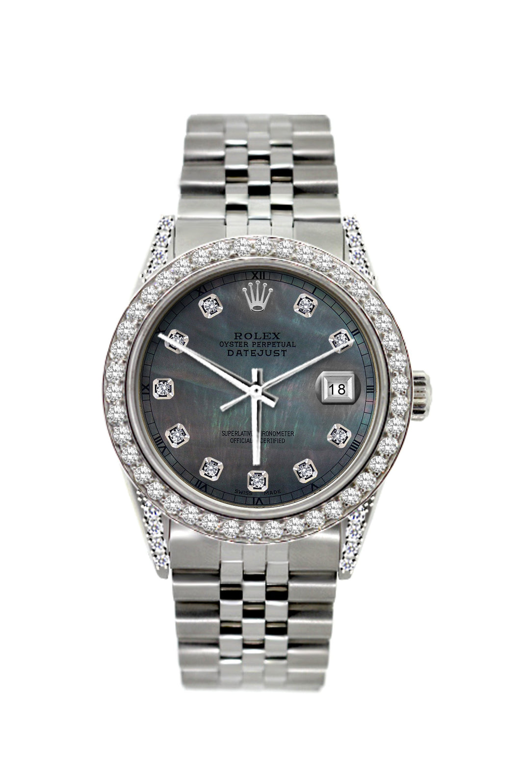 Rolex Datejust 36mm Stainless Steel Black Mother of Pearl Dial w/ Diamond Bezel and Lugs