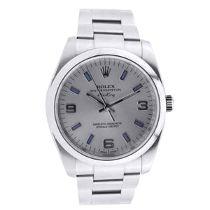 Stainless Steel Rolex Oyster Perpetual Air-King 34MM Silver Dial With Hour Markers 114200