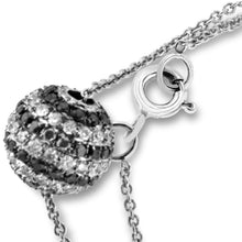 Load image into Gallery viewer, 14K White Gold White and Black Diamond Ball Necklace 1.00CT