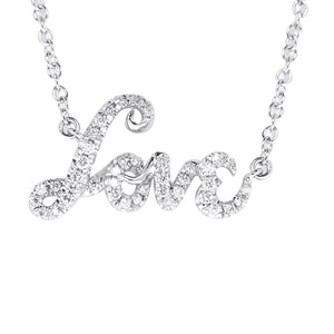 "18K White Gold Diamond ""Love"" Pendant with Chain 0.20CT"