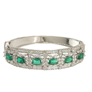 18K White Gold Bangle With Variety Of Different Diamonds And 3.94CT Of Green Emeralds Total CT weight Is 8.50CT