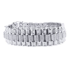 Load image into Gallery viewer, Platinum Baguette And Round Cut Diamond Bracelet With 15.20CT