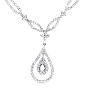 18K White Gold Diamond Chain with Tear Drop Pendant 1.66CT