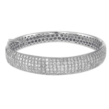 Load image into Gallery viewer, 14K White Gold Diamond Bangle With 6 Rows Of 4.04 CT