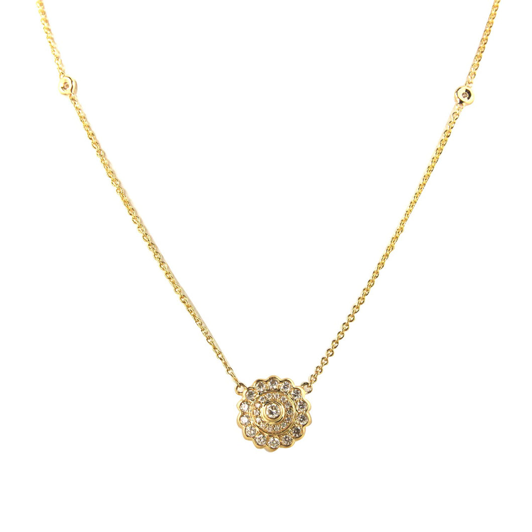 18K Yellow Gold Diamond Flower Pendant with Diamond by the Yard Chain 0.46CT