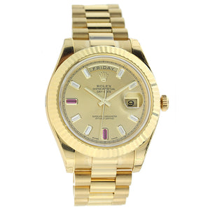 18K Yellow Gold Rolex Day Date II President 41mm Champagne Diamond and Ruby Dial 218238