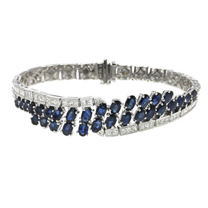 18K White Gold Diamond and Sapphire Bracelet With Round Cut Diamonds 5.45CT Sapphire Weight Is 8.94CT