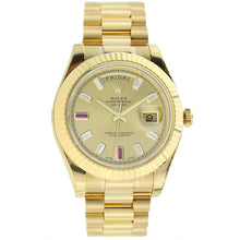 Load image into Gallery viewer, 18K Yellow Gold Rolex Day Date II President 41mm Champagne Diamond and Ruby Dial 218238