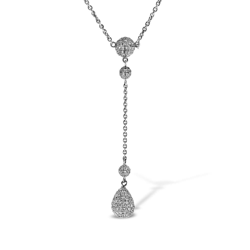 18K White Gold Diamond By The Yard Necklace 3.16CT