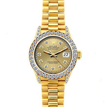 Load image into Gallery viewer, Rolex Datejust 26mm 18k Yellow Gold President Bracelet Champagne Dial w/ Diamond Bezel and Lugs