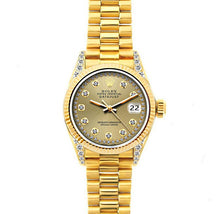 Load image into Gallery viewer, Rolex Datejust 26mm 18k Yellow Gold President Bracelet Champagne Dial w/ Diamond Lugs