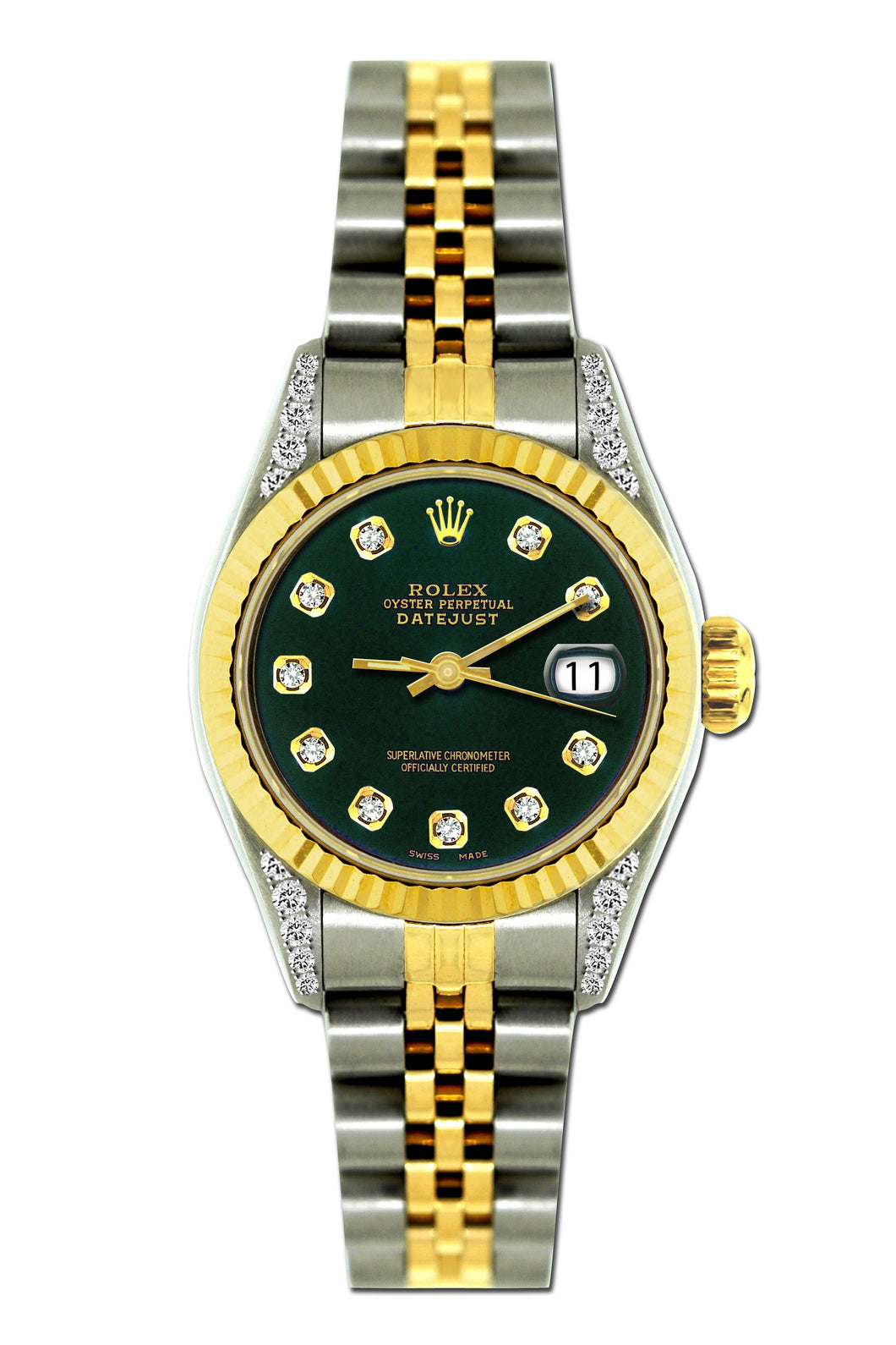 Rolex Datejust 26mm Yellow Gold and Stainless Steel Bracelet Sherpa Blue Dial w/ Diamond Lugs