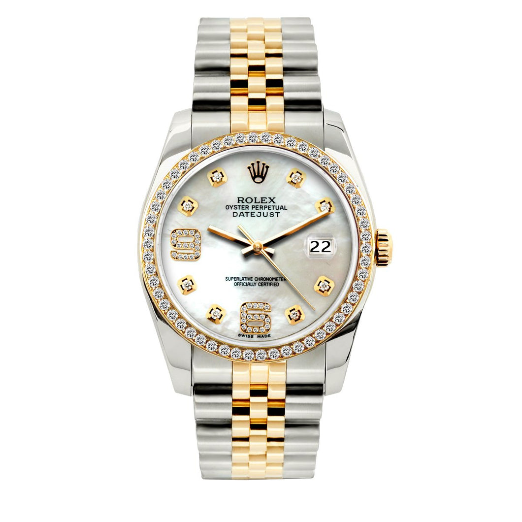 Rolex Datejust 36mm Yellow Gold and Stainless Steel Bracelet White Mother of Pearl Dial w/ Diamond Bezel