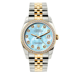 Rolex Datejust 36mm Yellow Gold and Stainless Steel Bracelet Blue Mother of Pearl Dial w/ Diamond Bezel