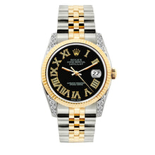 Load image into Gallery viewer, Rolex Datejust 36mm Yellow Gold and Stainless Steel Bracelet Black Roman Dial w/ Diamond Lugs